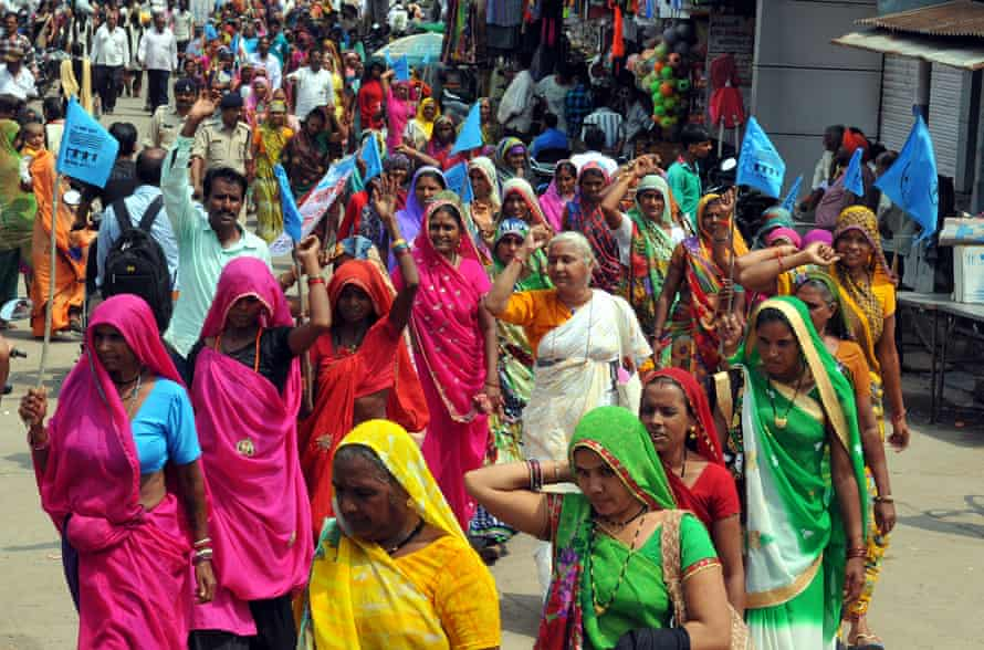 Social activist Medha Patkar with women at an anti-liquor rally in September 2016 in Barwani, India.