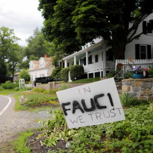A yard sign in support of Anthony Fauci in Rockport, Massachusetts