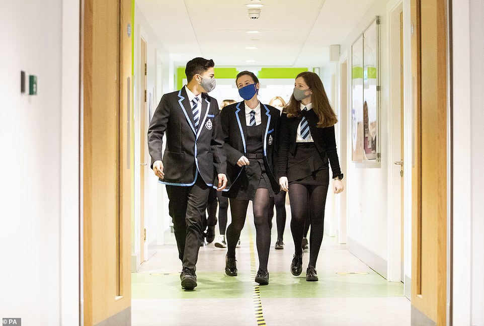 Teaching unions have today predicted that schools would need to reimpose face masks 'very shortly' after reopening. Schools in parts of the South West have already brought back the measures (stock)