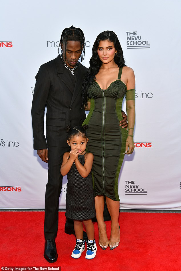 Family:Stormi, three, is the daughter of Kylie Jenner and Travis Scott; she is pictured on the left; Kylie is reportedly pregnant with their second child, but it is not yet confirmed; the family seen on June 15, 2021 at the 72nd Annual Parsons Benefit at Pier 17 in NYC