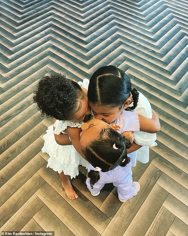 Cousins:Chicago, three, is Kim's youngest daughter; she is also mom to North, eight, Saint, five and Psalm, two; from left to right: Stormi Webster, True Thompson and Chicago West