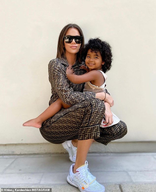Cute:True, three, is the daughter of Kim's sister Khloe Kardashian and her on/off ex Tristan Thompson; she is pictured on the right
