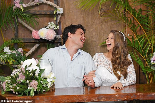 Wedded bliss:The pair married in a makeshift ceremony at Australia Zoo in March last year