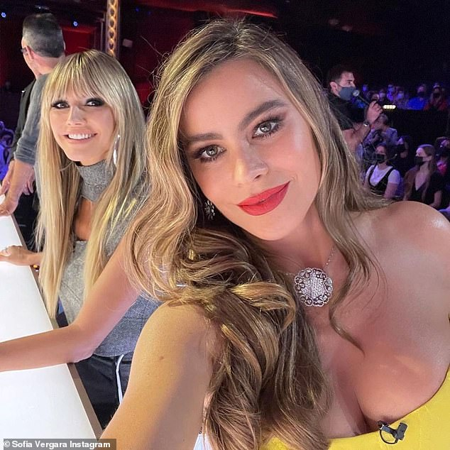 Judge's table:Klum also shared a snap of her alongside Sofia Vergara while they were both sitting at the judge's table