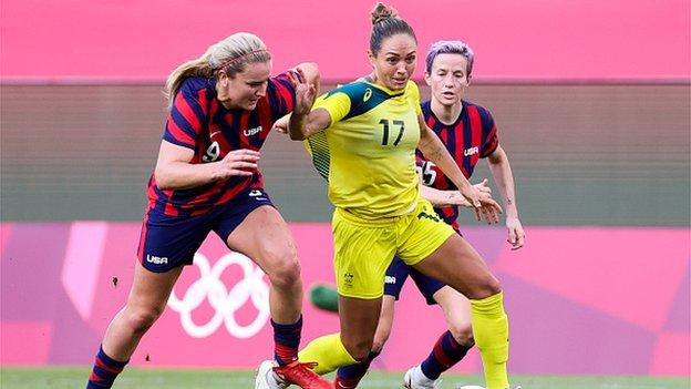 Kyah Simon playing for Australia in the bronze medal Olympic match