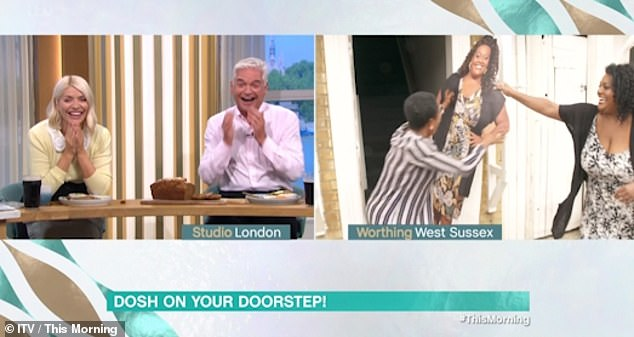 Giggles:Holly Willoughby and Phillip Schofield could not contain their laughter back in the studio, with Phil remarking: 'We should just give her the grand!'