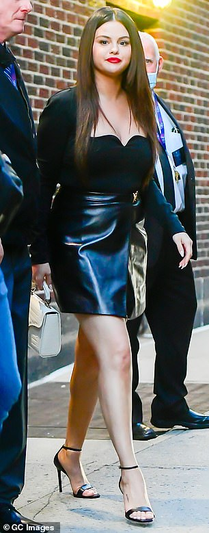 Back in black:On another day she had on a black leather dress; seen on Tuesday