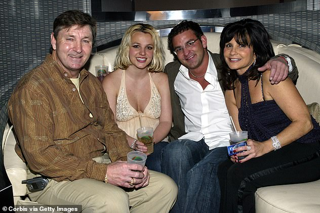 Together again: Jamie reportedly thinks the process might bring his daughter closer to him; Jamie (L) seen with Britney, brother Bryan Spears and mother Lynne Spears