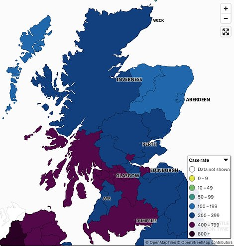 August 21: This map shows the Covid infection rate across Scotland in the week to August 21