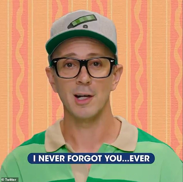 Sweet: The former Blue's Clues host then told his fans it was 'amazing' how they have grown up since watching him on TV, in a particularly emotionally rousing part of the video