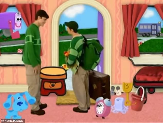 Exit: Steve hopped on a computer-animated bus and 'went to college' wearing a baseball cap and carrying his suitcase - leaving Blue's Clues in the hands of his 'brother'