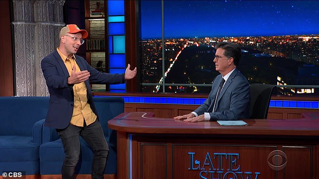 Fun moment:The studio audience began cheering as Colbert looked at Burns with a shocked expression