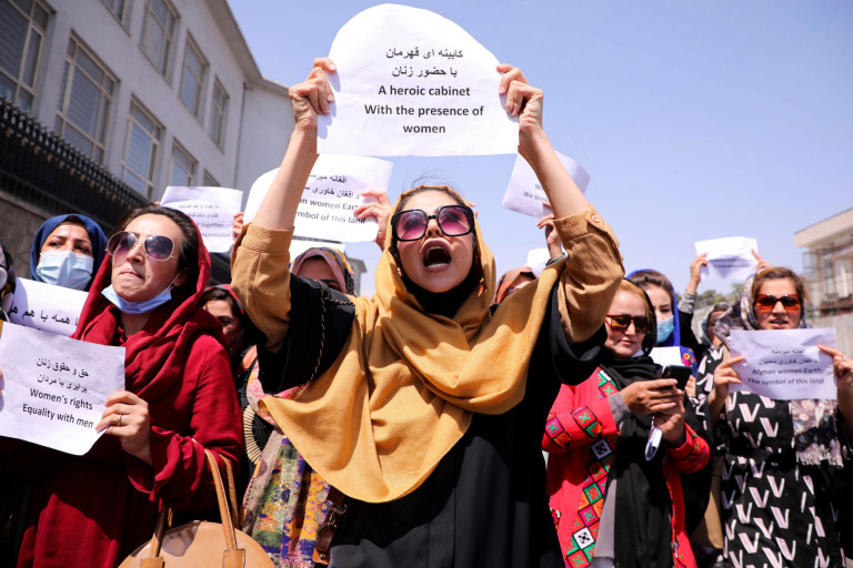Afghan women's rights defenders and civil activists protest to call on the Taliban for the preservation of their achievements and education