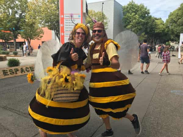 Jean and Janique Moritz dressed up as bees to raise awareness of the insects' plight