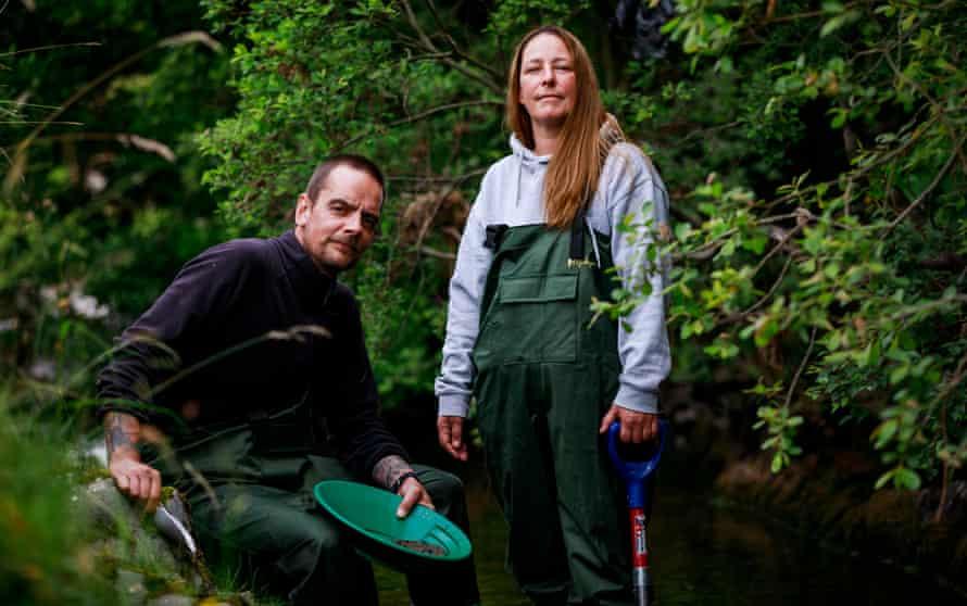 Gold panners Derek McNab and Lisa Kain in Scotland