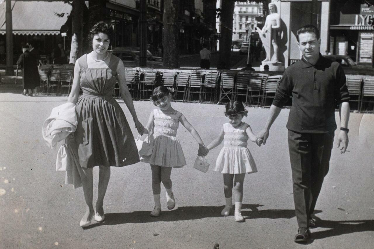 This photo taken in 1962 shows Anne Hidalgo (2nd R) with her sister Marie (2nd L) and parents Maria (L) and Antonio at Place Bellecourt in Lyon.