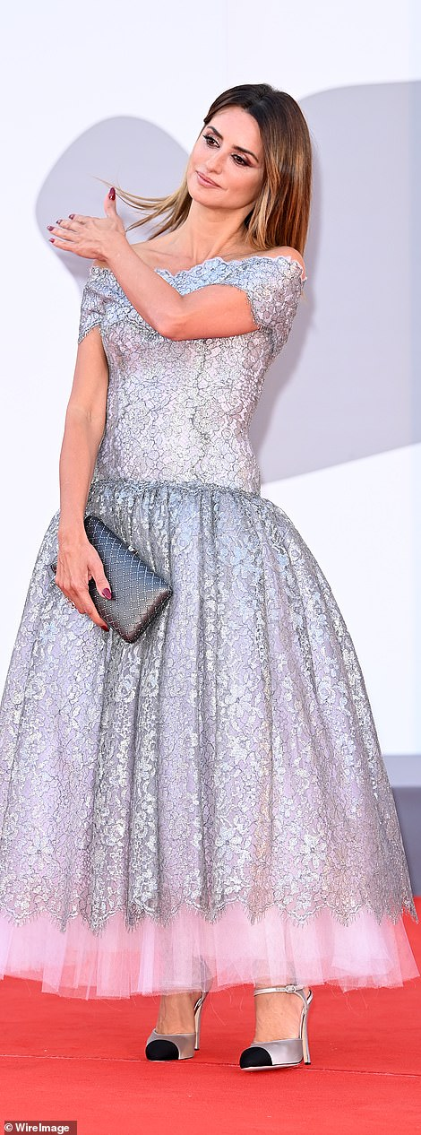 Beauty: Penelope was sure to turn heads in her elegant metallic gown