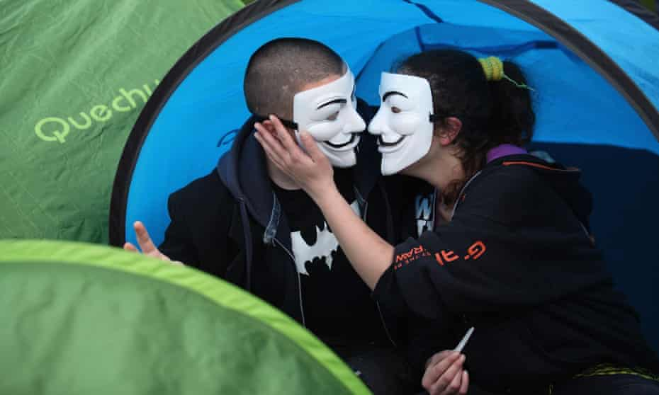 Protestors From Occupy London in a tent outside St Paul's Cathedral.