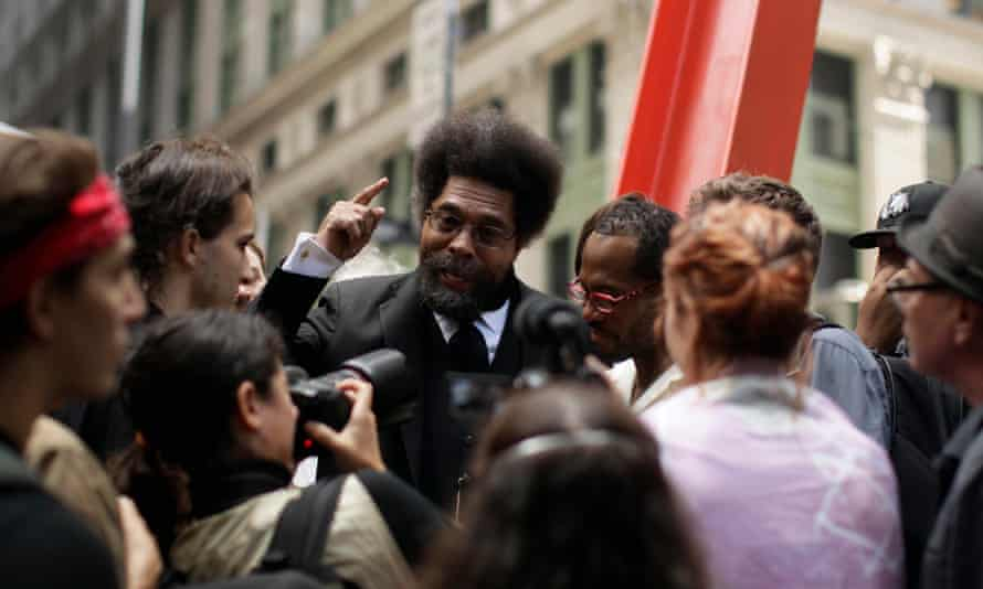 Philosopher Cornel West stops to talk to demonstrators in Zucotti Park, September 2011.