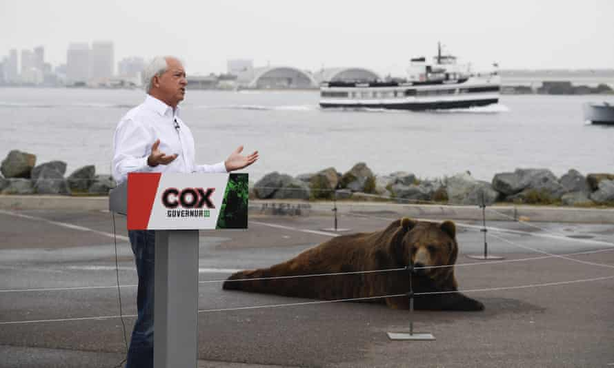 Gubernatorial candidate John Cox has become best known for bringing a 1,000-pound Kodiak bear on the campaign trail.
