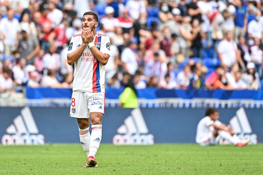 Houssem AOUAR of Lyon appears dejected after the French Ligue 1 Uber Eats soccer match between Lyon and Clermont at Groupama Stadium on August 22, 2021 in Lyon, France. (Photo by Baptiste Fernandez/Icon Sport via Getty Images)