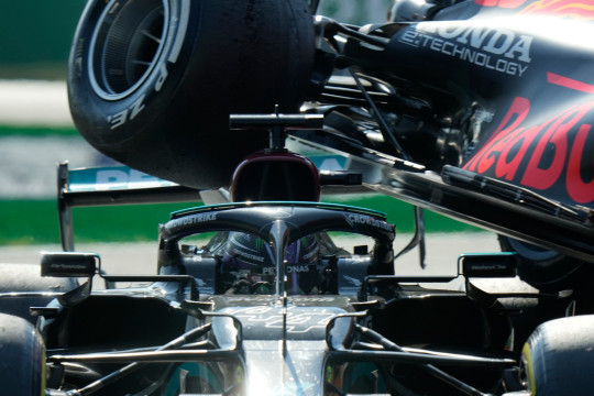 Lewis Hamilton's head was protected from Max Verstappen's wheel by the halo system