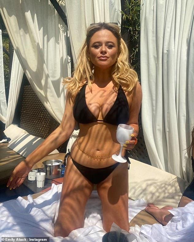 Newly single:Emily has been in no mood for moping, having taken to Instagram on Friday to flaunt her phenomenal figure in various bikini-clad snaps