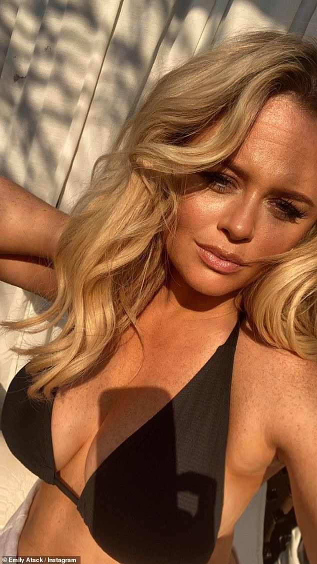 Golden:Emily followed up the sizzling snap with a close-up of her black bikini top. Her blonde locks were styled to perfection and she showed off her natural beauty