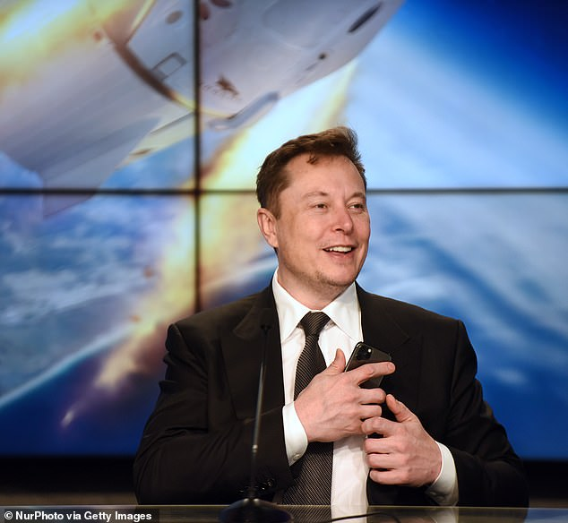 The crew vehicle is set for blastoff from NASA's Kennedy Space Center atop one of Musk's reusable Falcon 9 rockets, with a 24-hour targeted launch window that opens at 8pm EDT on Wednesday. Pictured is SpaceX CEO Elon Musk speaking at a press conference held in January at the space center about a successful test of the Falcon 9 rocket and Crew Dragon capsule