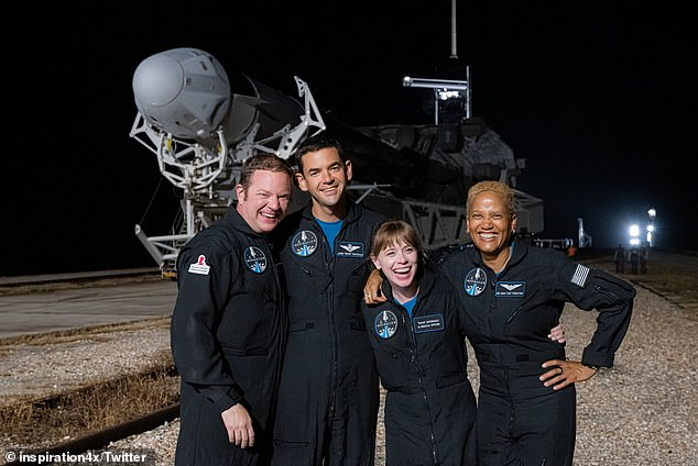 Pictured are 'Specialist' Chris Sembroski, 42 (far left), 'Commander' Jared Isaacman, 38 (second from left), 'chief medical officer' Hayley Arceneaux, 29 (second from right) and 'pilot' Sian Proctor, 51 (far right), who are all scheduled to become the first civilians to enter the Earth's orbit without a professional astronaut onboard this upcoming Wednesday