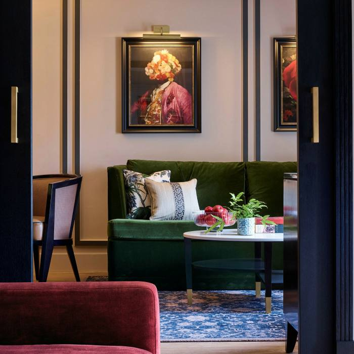 The Townhouse's chic rooms feature velvet furnishings, eccentric artwork...