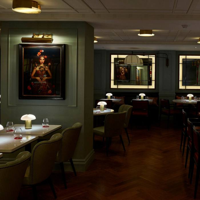 The Mayfair Townhouse's dining spaces include the sleek Lower Ground restaurant