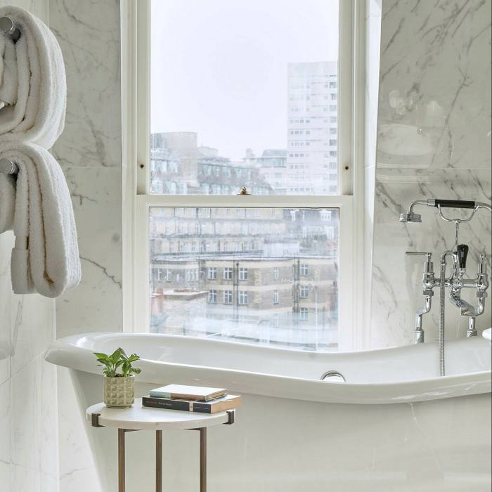 ...and stylish bathrooms — some with a view