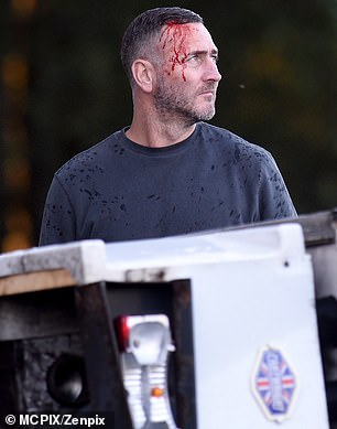 Filming: He also had fake blood covering the side of his face and his clothes were left wet after it had been raining during the takes