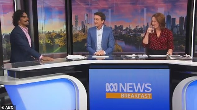 Blooper: When handing over the report to his co-hosts they immediately erupted into laughter and questioned which part of the cricketer was bulging