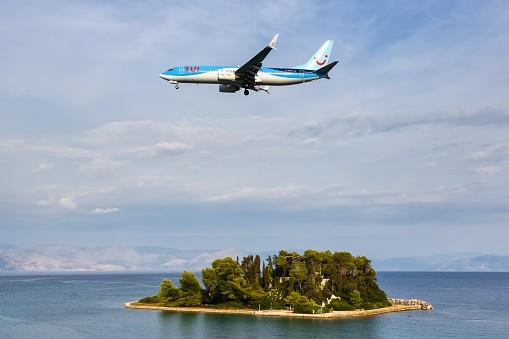 TUI Boeing 737-800 airplane Corfu Airport in Greece
