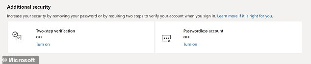 The move by the Redmond, Washington-based firm follows an initial rollout of the feature to Microsoft's business customers back in the March of this year. Pictured: the Microsoft account settings page that allows users to set up a passwordless account