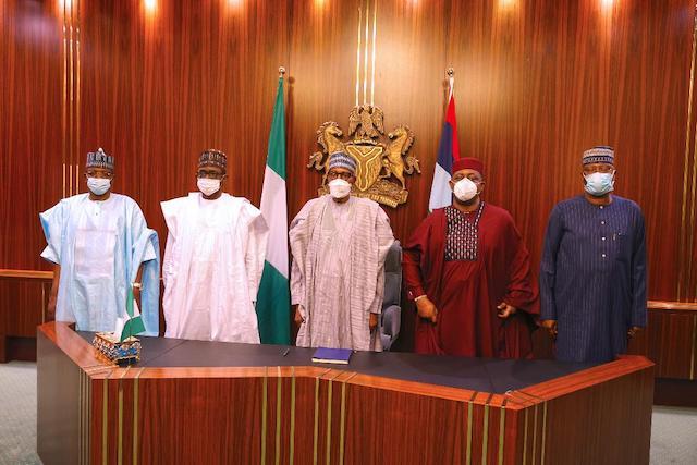L-R Bello Matawalle, Buni, Buhari, Fani-Kayode and Mustapha