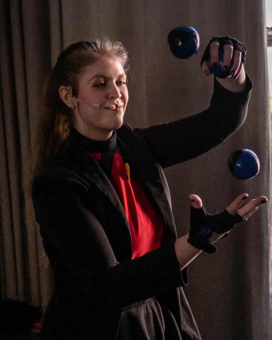 Deyna Viret, a College of Magic student, practises a juggling routine in her dressing room ahead of a show at the Artscape theatre centre.