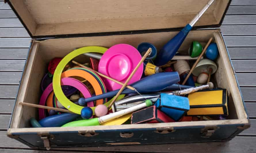 Equipment used in magical and circus tricks lies in a box at the College of Magic.