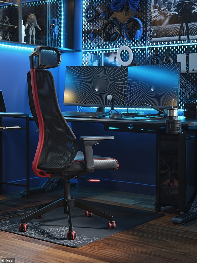 In total, the gaming range includes more than 30 products. This includes furniture such as gaming desks, chairs and drawer units, and accessories, such as mug holders, neck pillow and ring lights