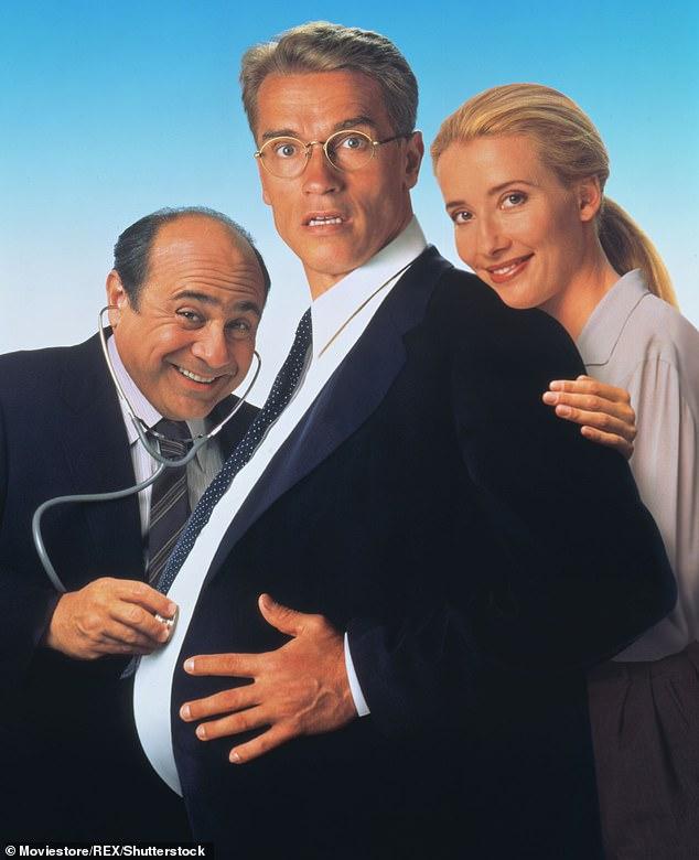 From left, Danny Devito, Arnold Schwarzenegger and Emma Thompson appear in the 1994 film 'Junior'