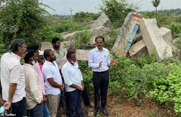 In August, archaeologist E. Sivanagi Reddy (center) found a 14th century Tamil inscription inKodanda Ramaswamy temple, near where the idol was discovered
