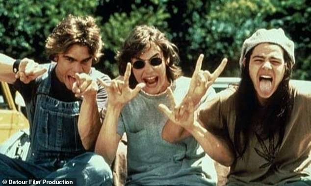 Happier times: London seen in the middle in an outtake from 1993's Dazed and Confused; also pictured are Sasha Jenson, left, and Rory Cochrane, right