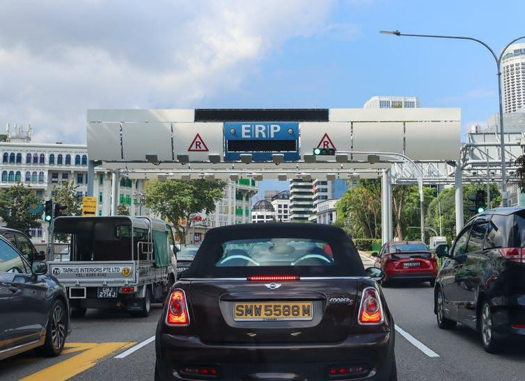 A car using Singapore's road-pricing system