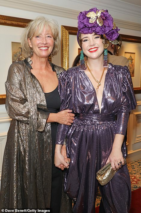 Mother-and-daughter: Emma Thompson and her daughter Gaia sparkled in their jumpsuits