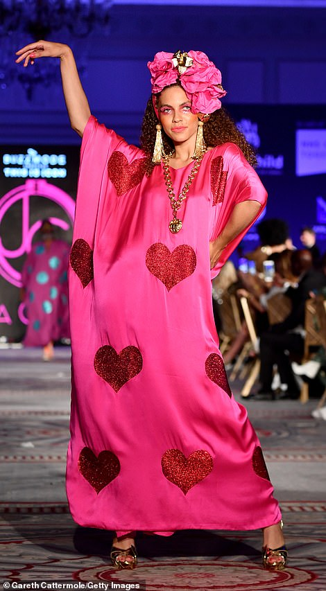 Sensational: Models took to the runway in an array of glamorous ensembles