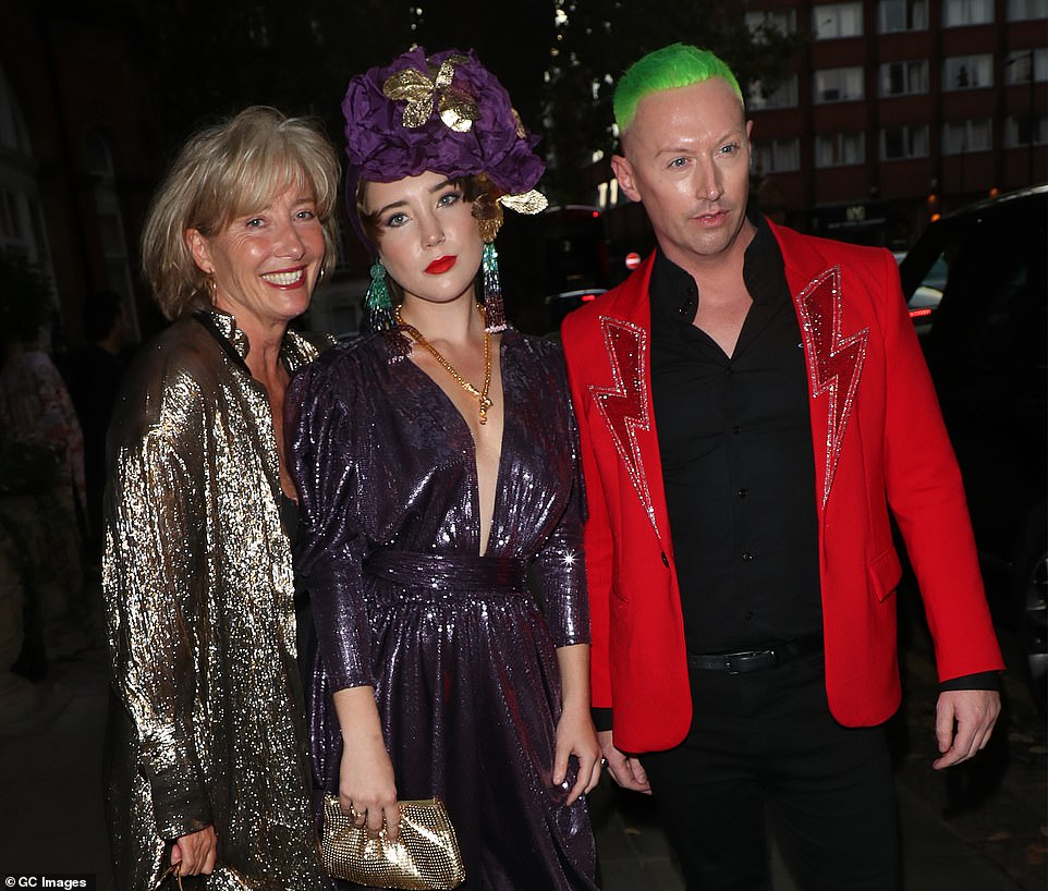 Green-hued hair: Stylist Steve Vyse opted for a bold red jacket
