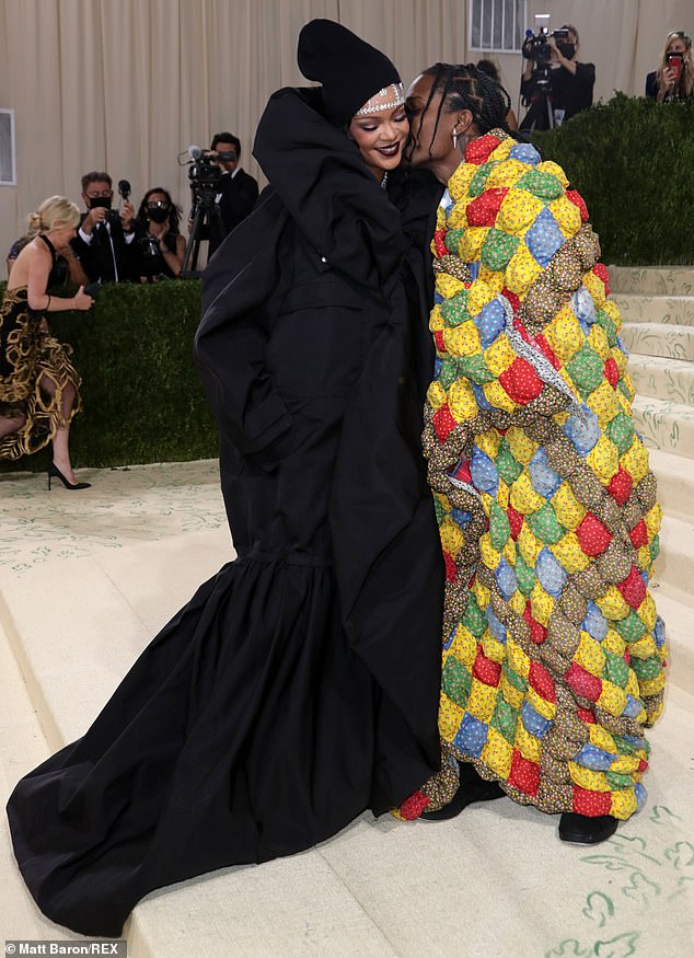 Transformative: A$AP Rocky arrived in an oversized blue, red, and yellow checker print wrap, which he later ditched to unveil a modern tuxedo