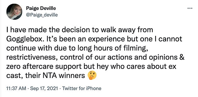 'I have made the decision to walk away from the show,' the TV personality publicly ditched the show hours before it returned to the airwaves